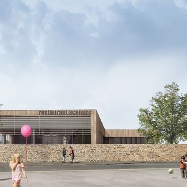 Chantier en cours : Construction d''un restaurant et d''une unité de production culinaire pour la Mairie de Plédran